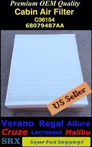 LaCrosse Regal Verano.. SRX Cruze Malibu Premium Quality A/C Cabin Filter 36154