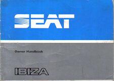 Seat Ibiza 1.2 1.5 L GL GLX 1985-86 Original Owners Handbook