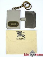 Burberry Womens Luxury Leather Keyring with make-up Mirror Grey/Beige