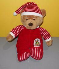 "12"" Ganz Reindeer Sleeper Baby Teddy Bear Brown Red White Stripe Christmas Plush"