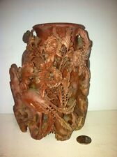 Vintage Ornately Carved Soapstone Vase Birds & Floral  Beautiful