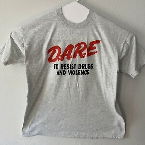 DARE To Resist Drugs XL USA Made Fruit Of The Loom Gray