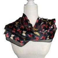 Anthropologie ECHO butterfly black silk scarf