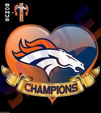 "Denver Broncos CHAMPIONS Heart Decal Sticker Car Truck Window Outdoor 11"" FCDBC5"