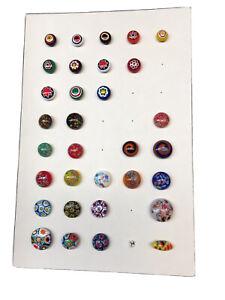 Vintage Button Collection 32 Glass Overlays Kaleidoscope Millefiori