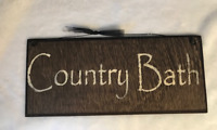 COUNTRY BATH wooden outhouse bathroom rustic bath wall art decor wood sign 5x12""