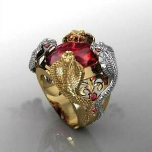Exaggerated Ruby Gold Silver Snake Ring for Men Women Party Punk Jewelry Sz 7-12