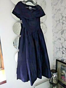 LAURA ASHLEY RARE & VINTAGE navy blue 100% silk classic ladies dress SIZE 10
