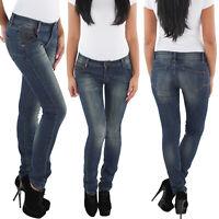 SOTALA Damen Röhrenjeans Hüft Stretch Röhren Jeans Hose Slim Fit Skinny Blau