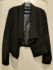 Cole Haan Black Leather Suede Waterfall Jacket Blazer, Small S, New