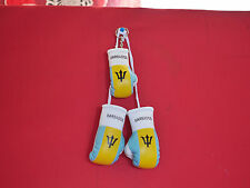 MINI BOXING GLOVES BARBADOS PLUS KEY RING  - HANG IN CAR - NEW