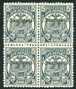 SWAZILAND-1889-90 5/- Slate-Blue.  An unmounted mint block of 4 Sg 8