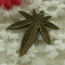 free ship 20 pieces bronze plated leaves charms 38x34mm #3324