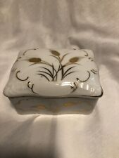 Trinket Box Cigarette Box Japan Limoge With Trays White And Gold
