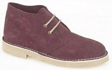 Roamers B467cs Unisex Bordeaux Suede Leather Desert BOOTS Mens Womens Kids 5