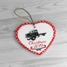 Rollback Wrecker Tow Truck Christmas Ceramic Ornaments with Gold String