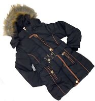Girls Kids Black Belted Puffer Coat with Fur Hood Winter Outer wear 5 to 13 yrs