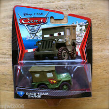 Disney PIXAR Cars 2 RACE TEAM SARGE # 15 diecast Army veteran Jeep grumpy grump