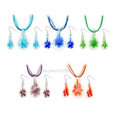 wholesale Lots 6set Drop Flower 3D Murano glass pendant necklaces earring FREE