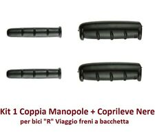 """Kit 1 Coppia Manopole + Coprileve colore Nero per Bici 26-28 Tipo """"R"""" Viaggio"""