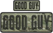 Good Guy embroidery patches 4x10 and 2x5 hook on back black  letters Multicam