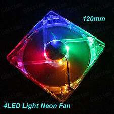 Quad 4-led Luz Neón MUY SILENCIOSO TRANSPARENTE 120mm PC ORDENADOR