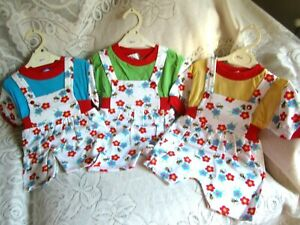 3 x Baby Girls Vintage Play Suits New ,0-6 MTHS, 1980s Vintage , 2 Piece sets