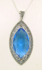 "NEW .925 Sterling Silver Marquise Blue Topaz Marcasite 18"" Open Pendant Necklace"