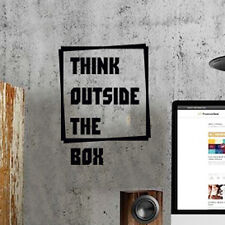 Think Outside the Box Wall Quote Vinyl Sticker Decal Decor Love Art Mural