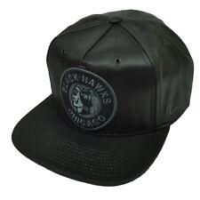 NHL Zephyr Chicago Blackhawks Dynasty Black Pleather Snapback Hat Cap Flat Bill