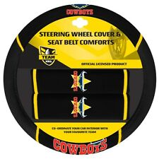 84039 NORTH QLD COWBOYS NRL CAR STEERING WHEEL COVER & SEAT BELT COMFORTS PADS