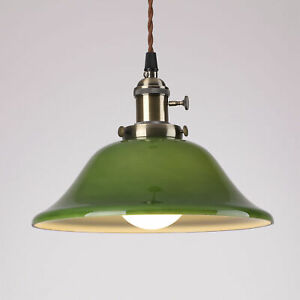 Vintage Industrial Pendant Light with Green Glass Lamp Shade - Gaming Billiards