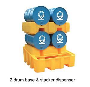 Horizontal 4 Drum Oil or Chemical dispensing Bunded Drip Sump Spill Pallet