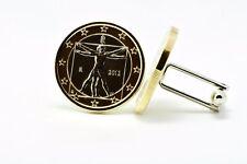 Italian 1-Euro Coin Cufflinks - DaVinci's Vitruvian Man