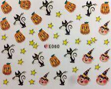 Halloween Nail Art Stickers Transfers Stars Cats Pumpkins Decoration (E060)
