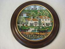 "Charles Wysocki Peppercricket Grove ""Gingernut Inn"" Plate W/ Wood Frame, 8 1/4"""