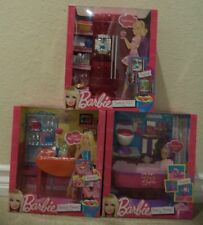 BARBIE TREATS TO TV DINNER TO DESSERT & BATH TO BEAUTY SET OF 3 FURNITURE T8007