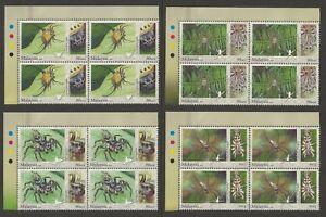 Malaysia 2009 Stamp Week / Arachnids Block of 4V set SG #1621b-1624b P.14 at top