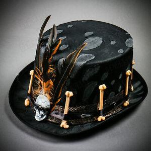 Top Hat Black Fleather Voodoo Bones Skull Halloween Mens Fancy Dress Accessory