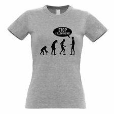 Stop Following Me Novelty Womens TShirt Evolution Parody Science Geek Nerd