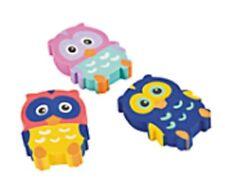 Owl Shaped Erasers - Set of 6