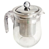 350mL Heat-resistant Clear Glass Teapot Stainless Steel Infuser Flower Pot W3X7