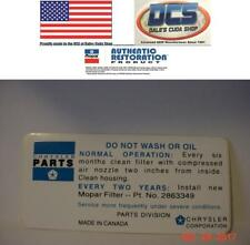1972 1974 360 & 400 440 Do Not Wash Air Cleaner Decal With dual snorkel Canada