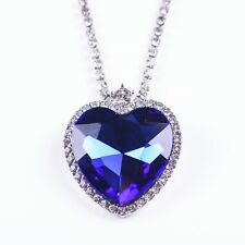 Titanic Movie Crystal Heart of the Ocean Necklace Sapphire Blue WHITE GOLD