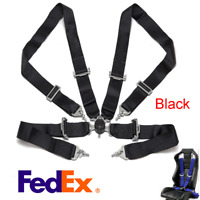 """3"""" Black 4 Point Sport Racing Harness Safety Seat Belt Quick Release Camlock x1"""