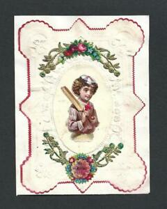 Y53 - VICTORIAN EMBOSSED PAPER CARD TO CHILD - BOY WITH CRICKET BAT & BALL SCRAP