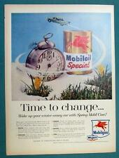 10x14 Original 1957 Mobil Ad TIME TO CHANGE...SPRING CARE WITH MOBILOIL SPRECIAL