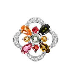Tourmaline Flower Pendant - CZ Stones - Sterling Silver - Gift Box - 02433A