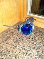 Small Antique Cobalt Blue Glass BIRD Figurine