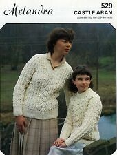 Carta 80s Vintage Lavoro a Maglia Motivo melandra 529 Aran Sweater per signore e ragazze